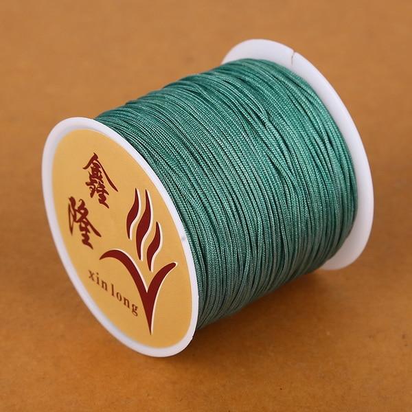 50 метров 0,8 мм нейлоновый шнур, китайский Узелок, шнур макраме, браслет, плетеный шнур, бисероплетение, сделай сам, ювелирный шнур, нить - Цвет: Green