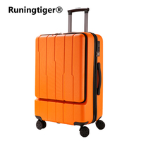 PC + ABS business rolling luggage front open computer bag male boarding chassis women's suitcase 24 hard side hand luggage car
