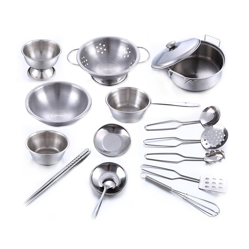 Stainless Steel Kitchen Cooking Utensils Pots Pans Food Gift Miniature Kitchen Tools Set Simulation Play House Toys For Children