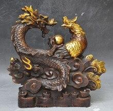 Christmas gifts mark china bronze gilt fengshui dragon phoenix lucky wealth yuanbao money statue Halloween