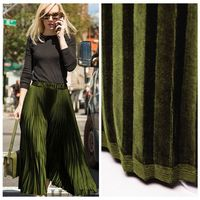 Special Metal Color Olive Green Fold Gold Velvet Clothing Fabric Fashion Fabric Large Cargo Half Skirt