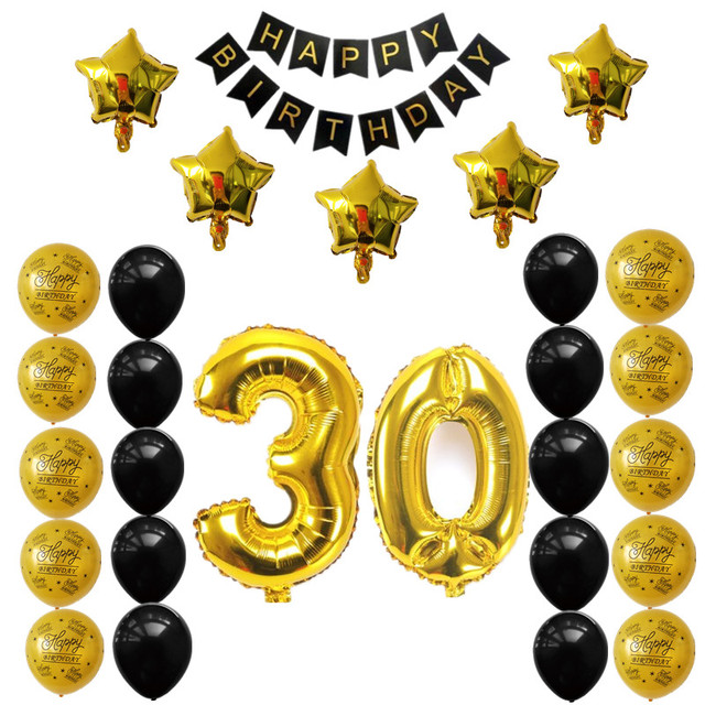 30th 40th 50th Birthday Party Balloons Decor Sets Happy Banner Gold Number Ballons Anniversary