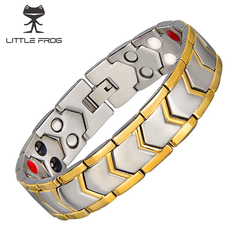 LITTLE FROG Stainless Steel Healthy Magnet Bracelet Men Jewelry Energy Magnetic therapy Father's day Gift 10202