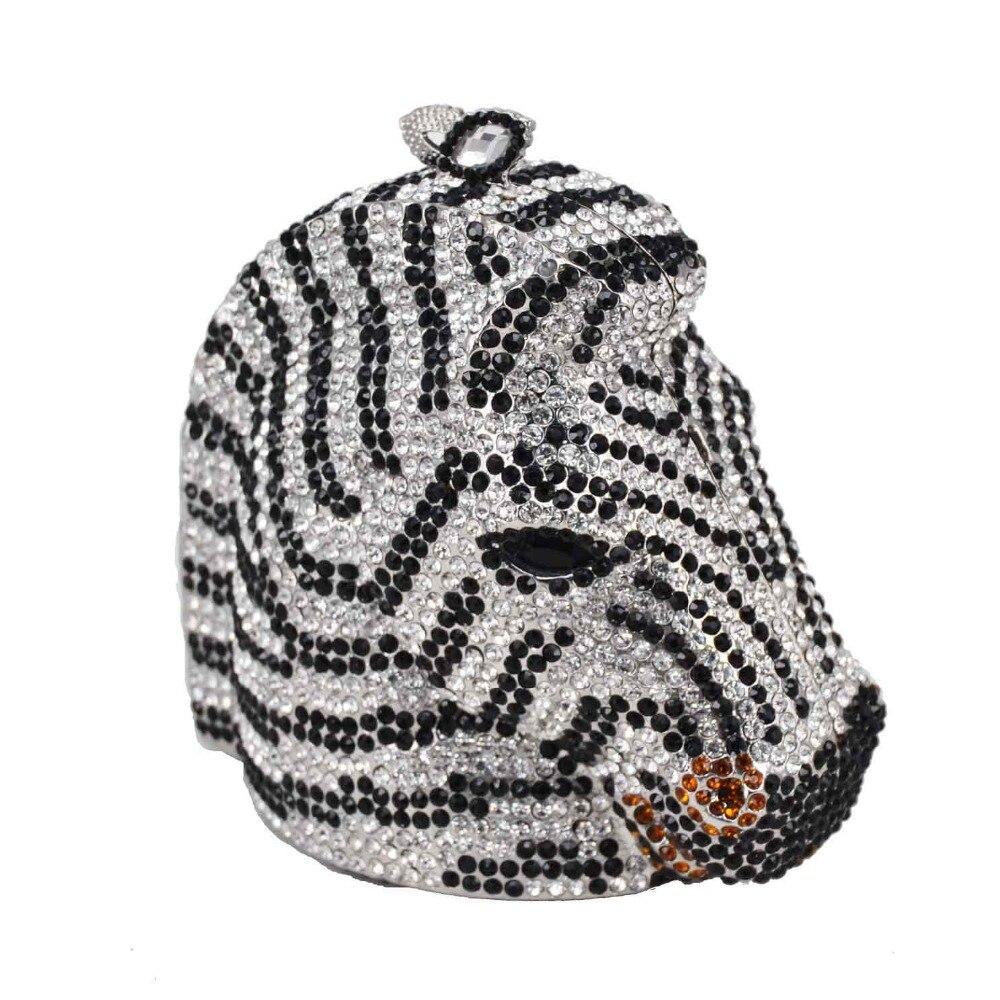 동물 얼룩말 럭셔리 크리스탈 저녁 가방 여성 다이아몬드 클러치 파티 핸드백 말 저녁 가방 sc899-에서클러치부터 수화물 & 가방 의  그룹 2