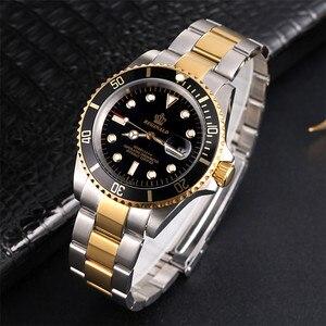 Image 5 - Lüks Hk taç marka erkekler saat dönebilen Bezel GMT safir tarih altın çelik spor mavi Dial kuvars askeri İzle Reloj hombre