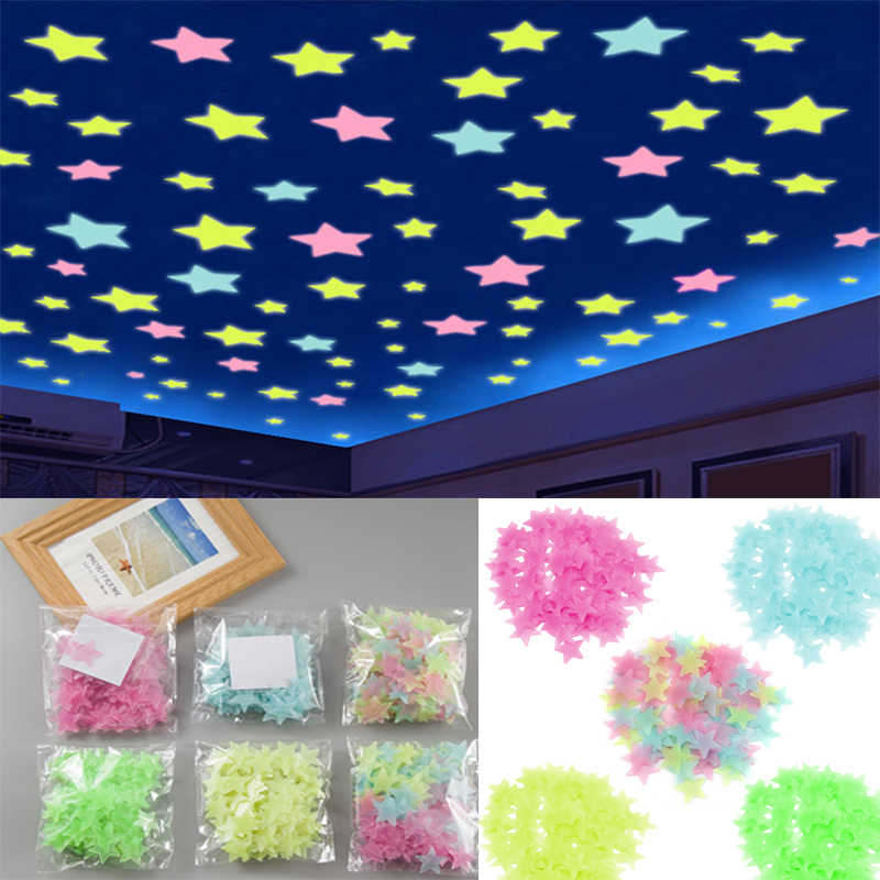 3D 50PCS Stars Glow In The Dark Wall Stickers Luminous Fluorescent Wall Stickers for Kids Baby Room Bedroom Ceiling Home Decor