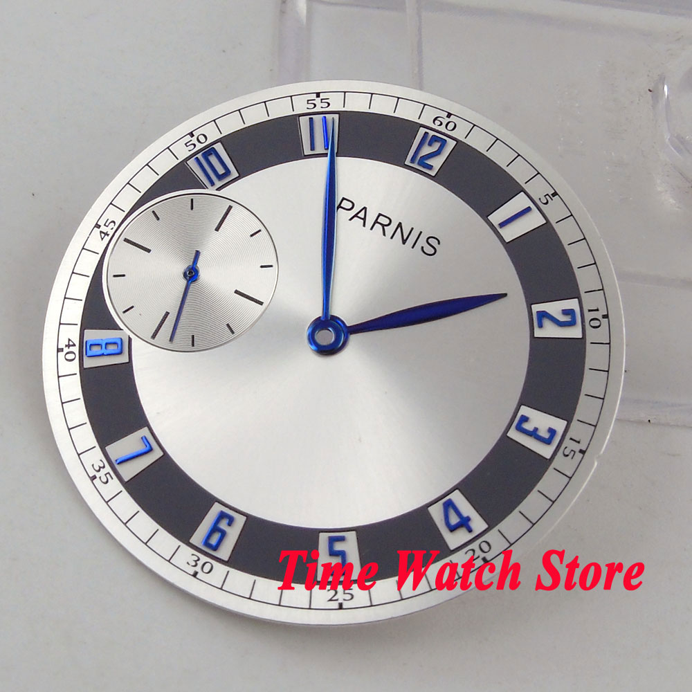 38.3mm silver watch dial blue marks fit eta 6497 <font><b>ST3600</b></font> hand winding movement men's watch (dial+hands) D101 image