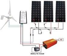 880W Kit: 400W Wind Turbine & 3*160W Solar Panel & 1KW off grid Inverter Home RV