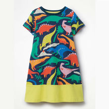1-6T Toddler Cute Kids Baby Girl Animal Short Sleeve Dinosaur Party Dress Brand Summer Beach Sundress meisjes kleding Vestidos