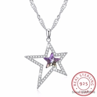 SMTCAT Crystals From Double Stars Necklaces Pendants Real 925 Silver Chain Max Collares For Women Gifts Fine Jewelry