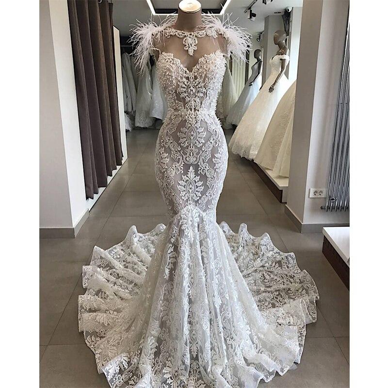 Robe De Mariee Luxury Customized Lace Beading Wedding Dress 2019 Elegant Backless Mermaid Wedding Gowns Court Train Bridal Dress