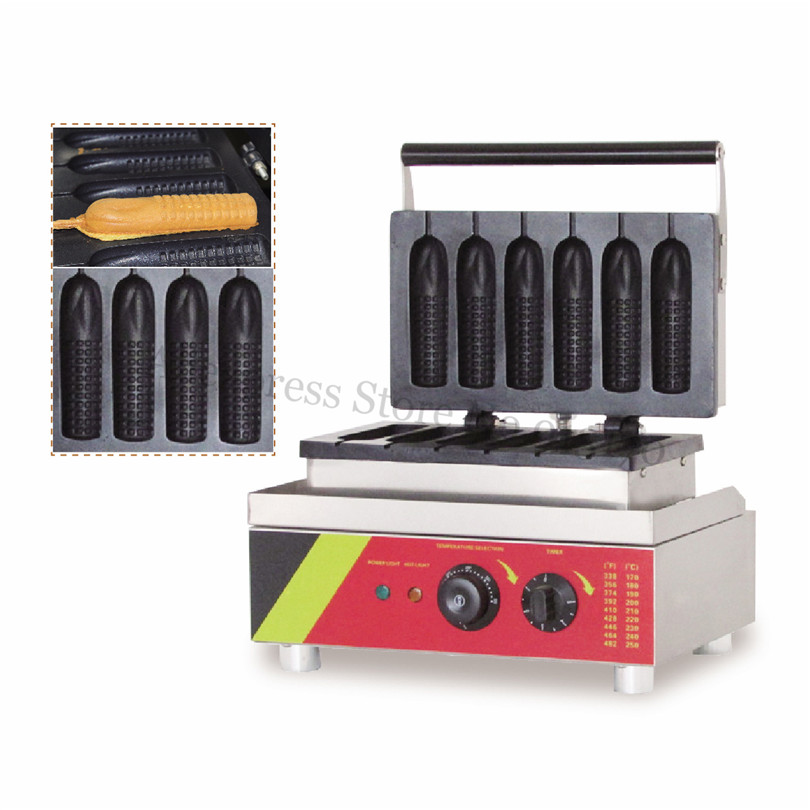Electric Corn Hotdog Waffle Machine Corn Hot Dog Waffle Maker Street Snack Fast Food Lolly Hotdog Baker 6 Molds 220V/110V 1pc electrical lolly waffle hot dog machine with 5 pcs molds 110v 220v stick waffle maker great snack machine