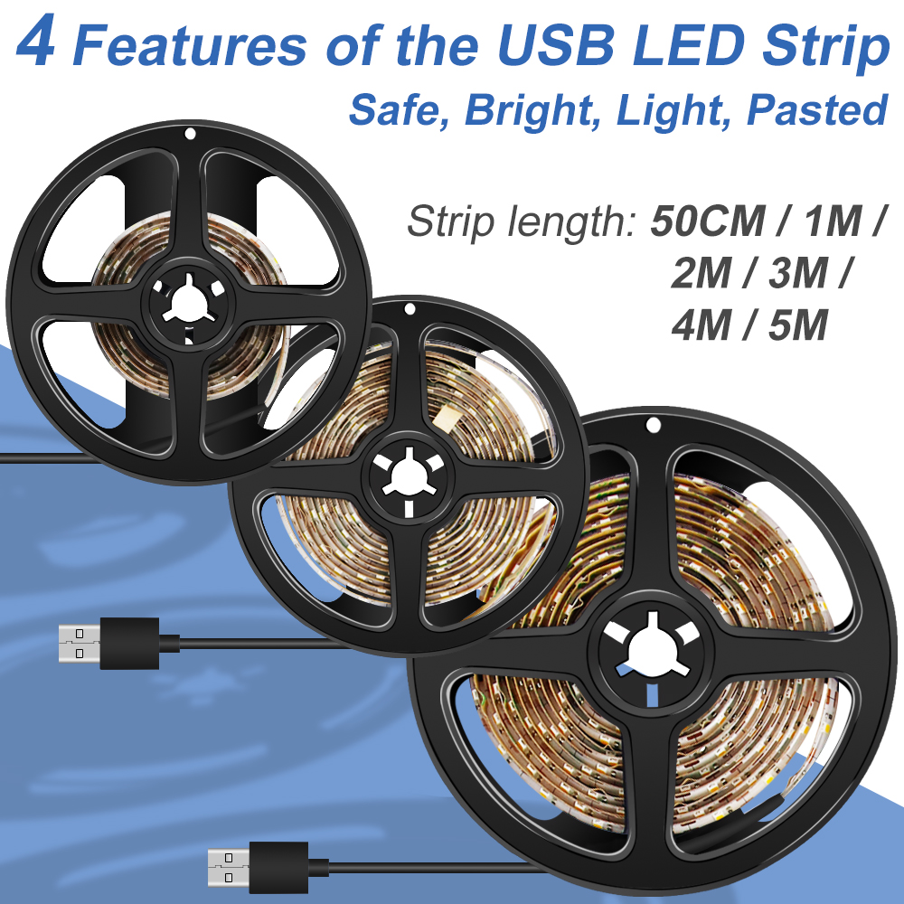 USB LED Stirp Light 2835SMD Tape Waterproof Power Strip 50CM 1M 2M 3M 4M 5M Flexiable Adhesive Lamp For TV Background
