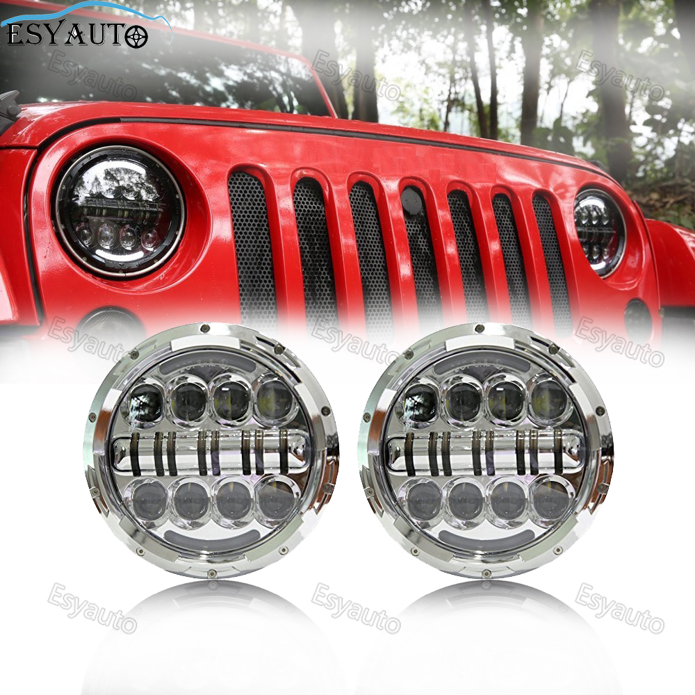 7 inch Headlight 80W Angle Eyes Amber Signal LED Lamp Round Auxiliary Passing for Jeep Wrangler