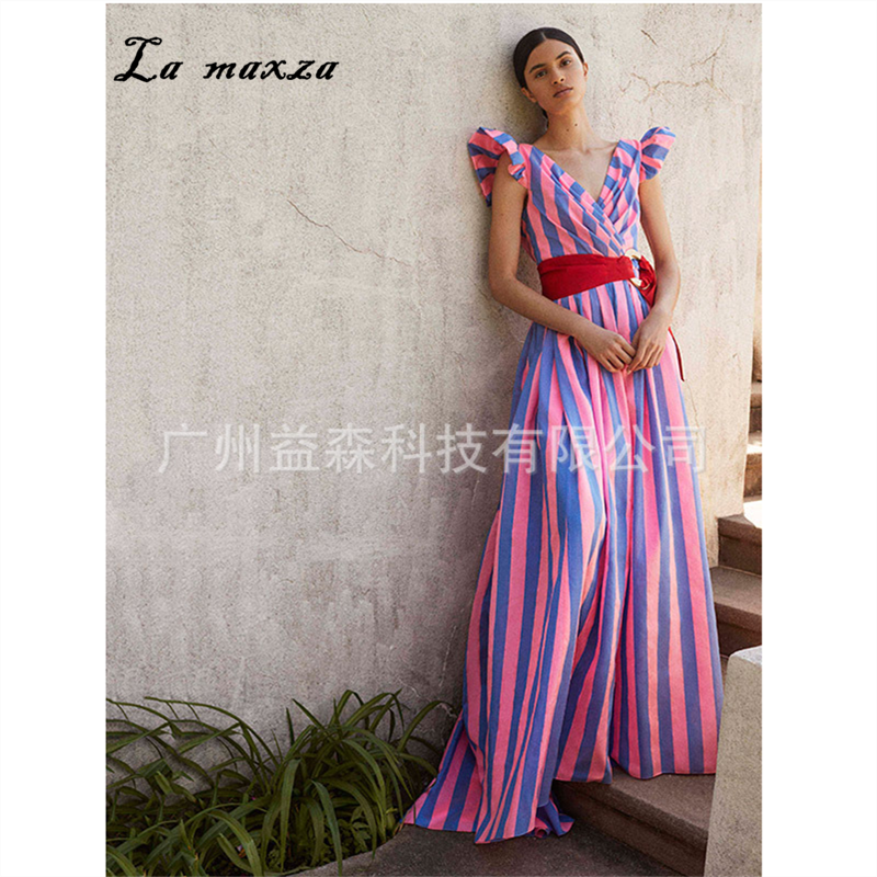 US $25.2 44% OFF|2019 Women Summer Vintage Elegant Party Night Dresses  Striped Fashion Maxi Dress Plus Size-in Dresses from Women\'s Clothing on ...