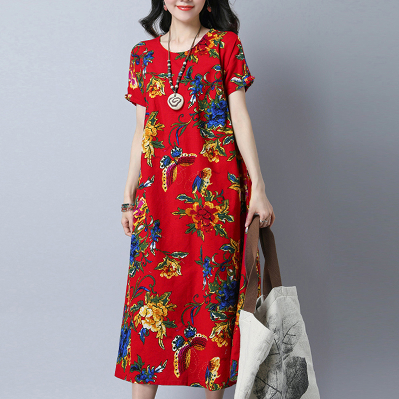 Pregnant Women Printed Mid-calf Dresses 2018 Summer Casual Loose Short Sleeve Pregnancy Vestidos Plus Size Maternity Clothes