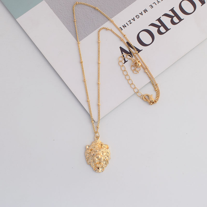 Gold Metal Bead Thin Chain Animal Lion Head Pendant Choker Minimalism Necklaces Korean Summer Fashion Neck Jewelry Accessory in Pendant Necklaces from Jewelry Accessories