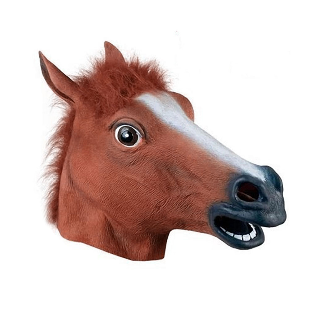 Hot Realistic Horse Head Masks Full Head Fur Mane Latex Creepy Animal Mask For Halloween Party Costume Props LFD in Party Masks from Home Garden