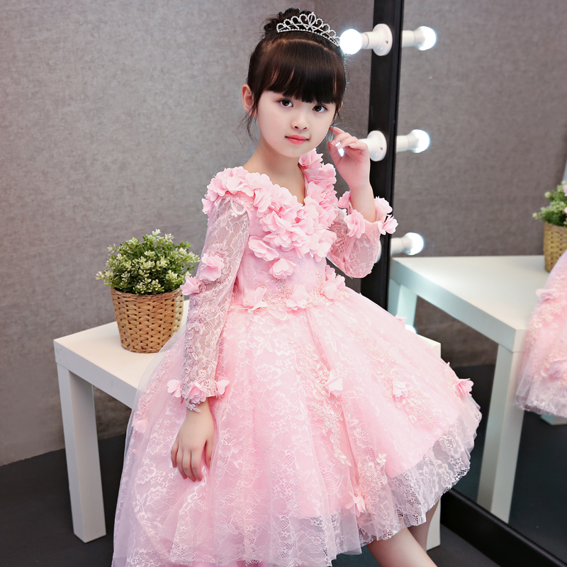 High Quality New Luxury White Pink Red Children Girls Flowers Lace Princess Dress Autumn Winter Long Sleeves Birthday Dress pink lace up design cold shoulder long sleeves hoodie dress
