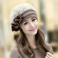 2016 New Fashion Winter Fashion Two Flower Rabbit Fur Hat Winter Hat For Women/Girl Free Shipping