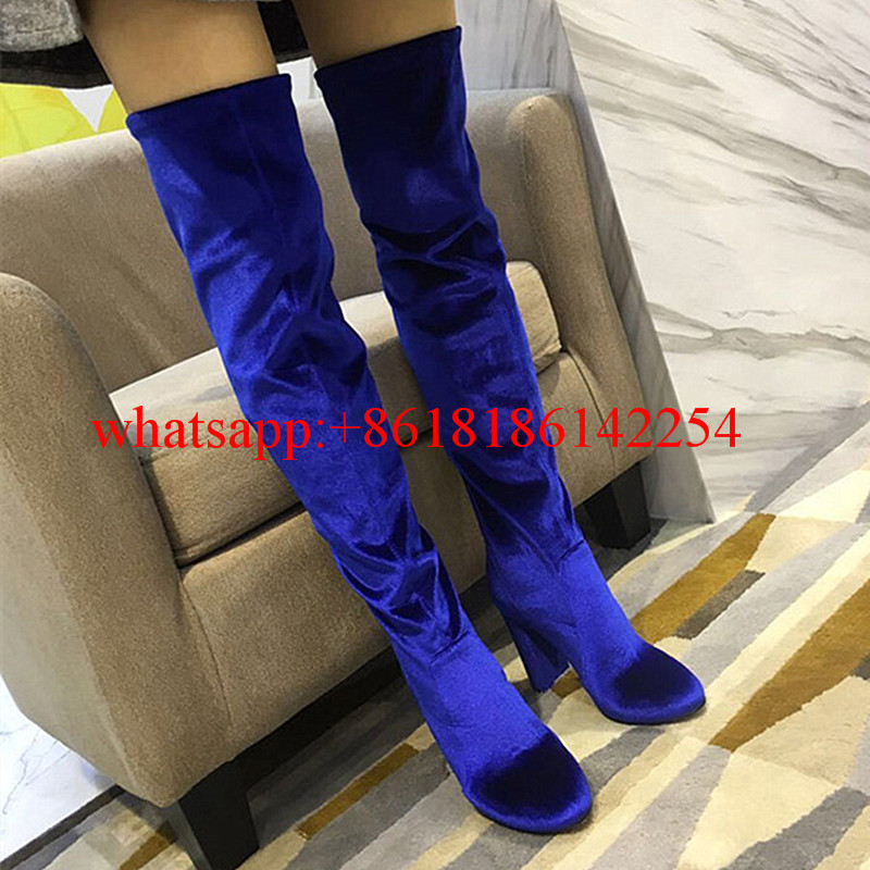 European Station Autumn and Winter Thin Elastic Velvet Over Knee Boots Pointed-toe High-heeled Female Boots Warm Botas Mujer