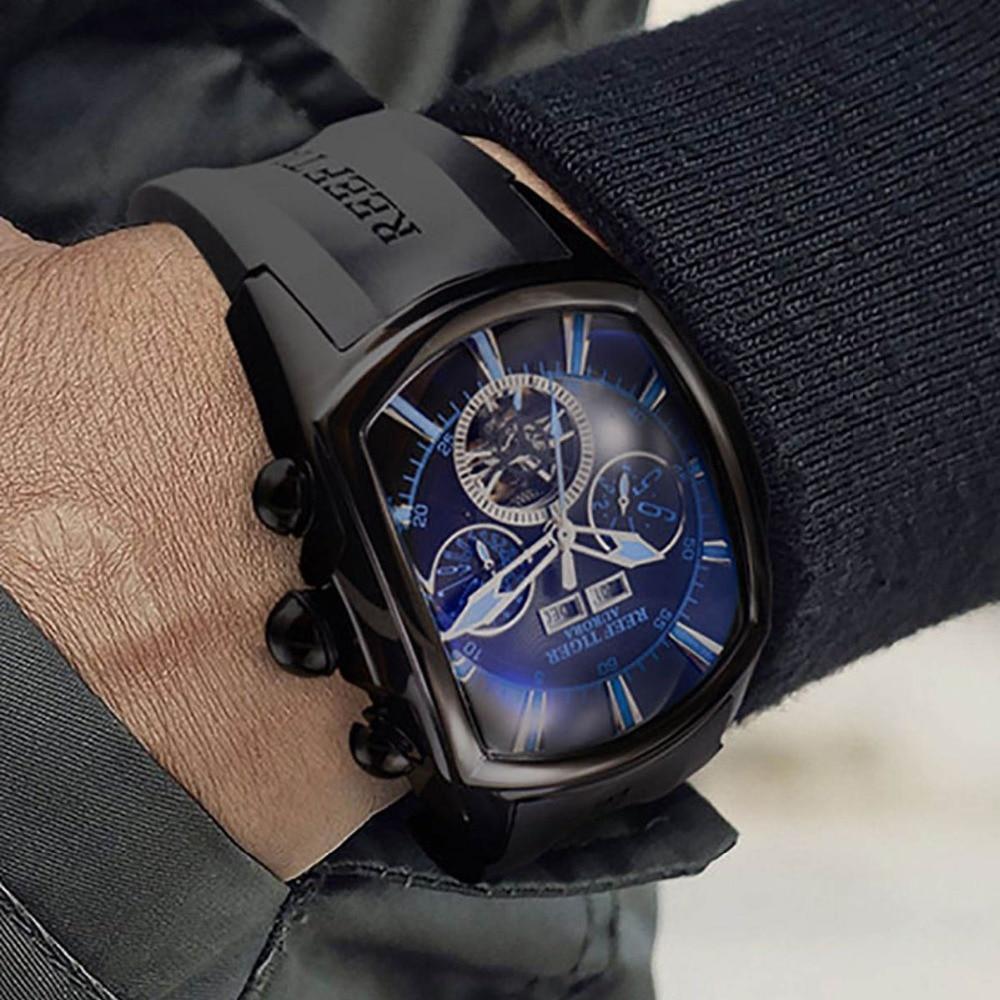 Recife Tigre/RT Top Marca de Luxo Relógio Grande para Os Homens Azul Dial Mecânica Tourbillon Esporte Relógios Relogio masculino RGA3069