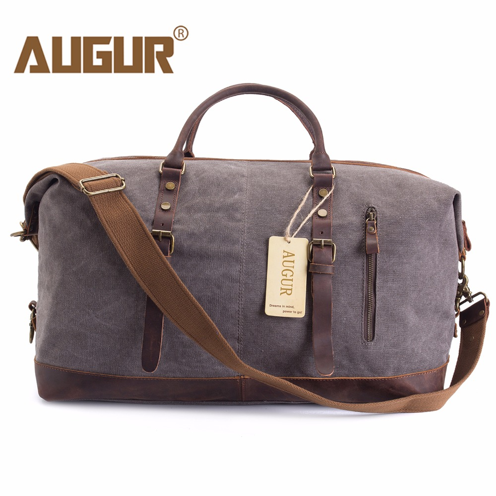 AUGUR Men Travel Bags Canvas Leather Carry On Luggage Bags Men Duffel Bags Travel Tote Large Capacity Weekend New Bag Overnight new diy ie801 earphone super bass headset 3 5mm in ear hifi stereo earbuds metal earphones for iphone samsung phone earphones