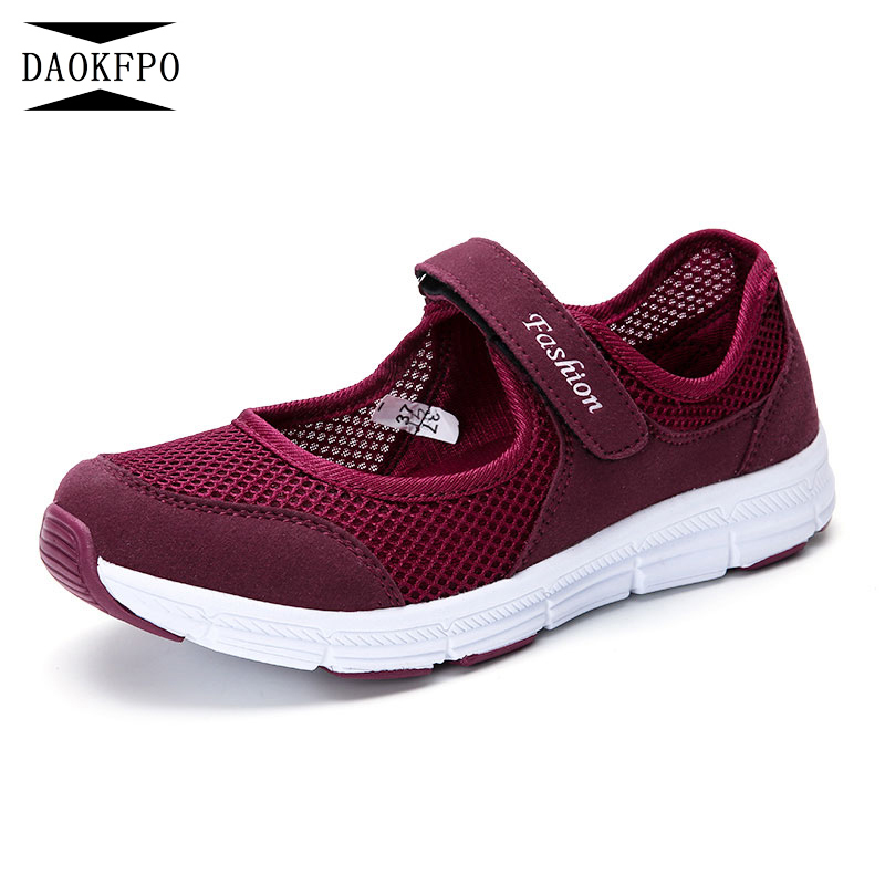 DAOKFPO Women Breathable Mommy shoes New Womens Soft Soles Flat Shoes Fashion Summer Shoes Female tennis Sneakers NVF-31