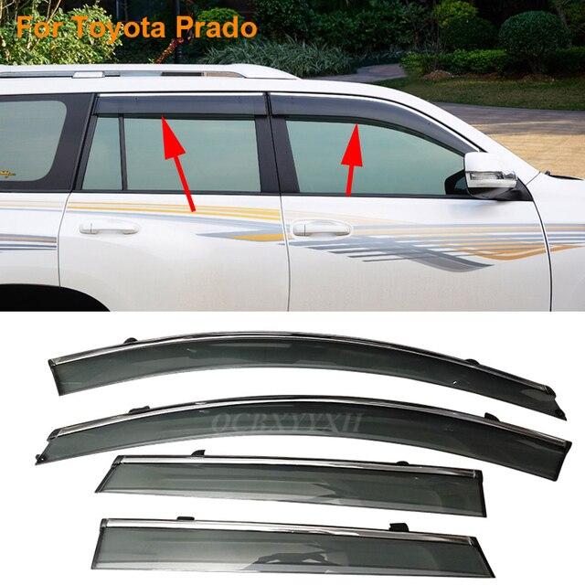 Car Stylingg Awnings Shelters 4pcs/lot Window Visors For Toyota Prado FJ120 FJ150 2003-2016 Sun Rain Shield Stickers Covers