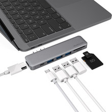 Dodocool 7-trong-1 Multiport Hub Kép USB-C 4 k Video HD Đầu Ra Cổng SD/Thẻ TF đầu đọc USB 3.1 Type-C Port USB 3.0 cho MacBook Pro(China)