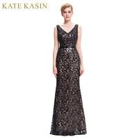 Lange Abendkleid Kate Kasin Doppel V-ausschnitt Perlen Abendkleider spitze Mutter der Braut Kleider Black Formal Abendkleid 0034