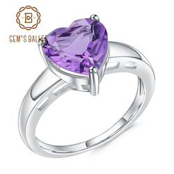 GEM'S BALLET 2.17Ct Natural Amethyst Heart Shape Ring 925 Sterling Silver Gemstone Wedding Rings For Women Fine Jewelry