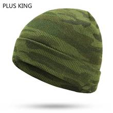 New Winter Hats Camouflage Beanie Hat Man Knitted Beanies for Men Green Bonet