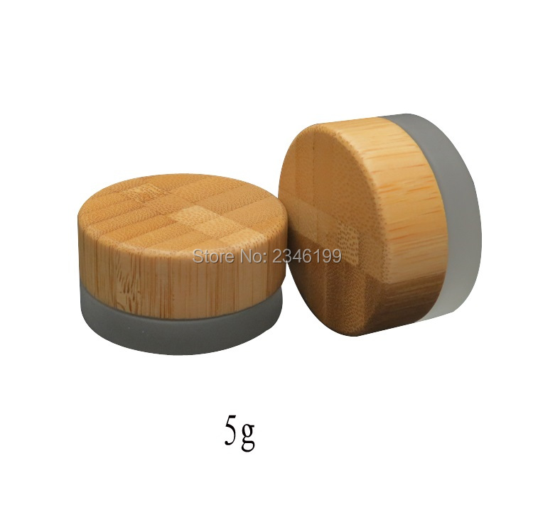 5g Frost Glass Jar With Wood Lid, Cosmetic Cream Sample Packing Bottle, Empty Glass Packing Jar Bomboo Cap, 30Pcs/Lot.