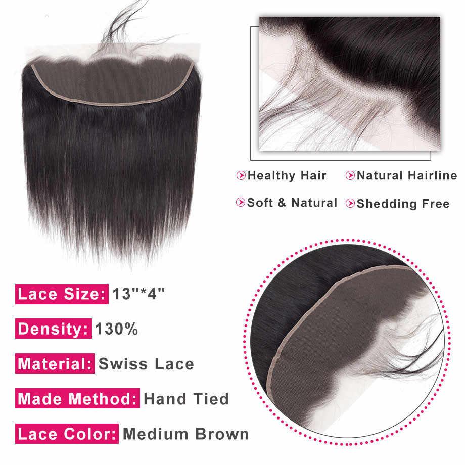 Шикарные волосы прямые волосы 13*4 Кружева фронтальное закрытие бразильские человеческие волосы закрытие свободная часть с волосами младенца 100% Remy натуральный цвет