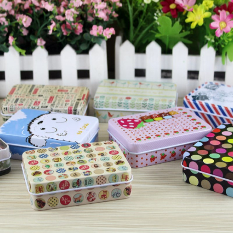 Cute Cartoon Small Clip Holder Dispenser Metal Tin Storage Jewelery Earphone Gift Pin Mini Case Iron Material