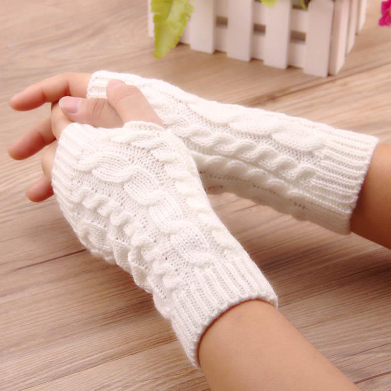 1 Paar Mode Mädchen Handschuhe Warme Winter Feste Handschuhe Arm Häkeln Stricken Handschuh Wärmer Finger Handschuhe