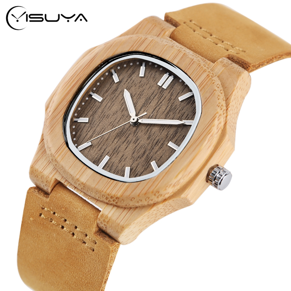 Creative Bamboo Wood Mens Watches Colorful Timber Quartz Wrist Watch Men Simple Genuine Leather Band Strap Wooden Watches