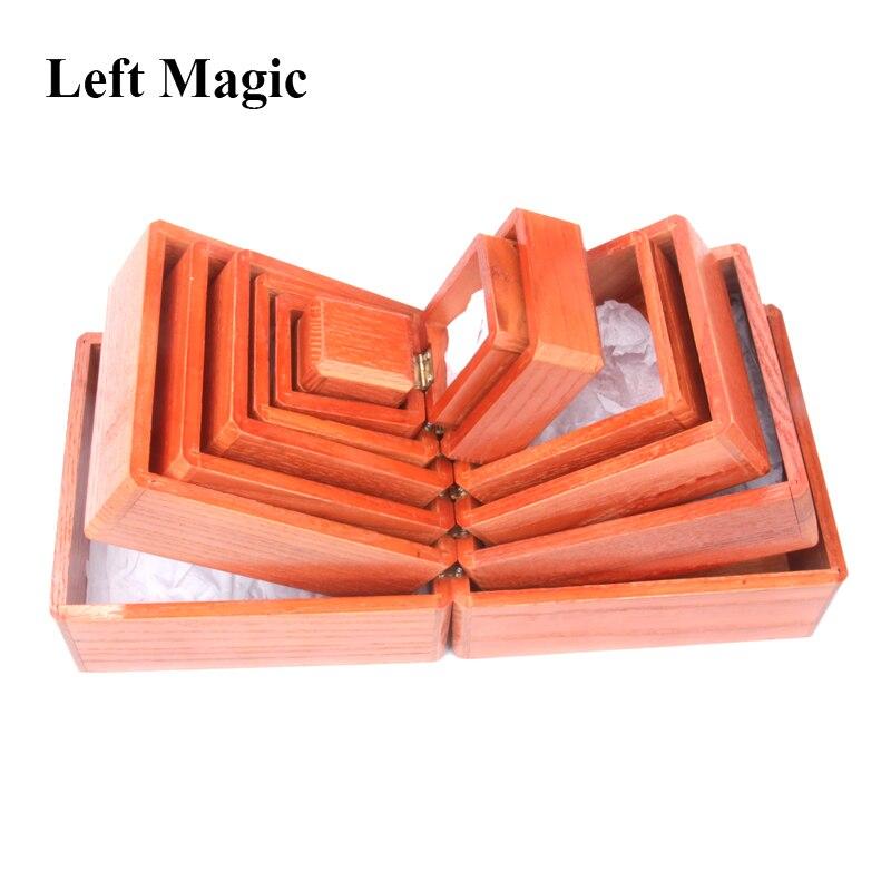 Nid de boîtes-boîte chinoise en bois en bois tours de magie objet disparu apparaissant dans la boîte scène Illusion accessoires Gimmick drôle