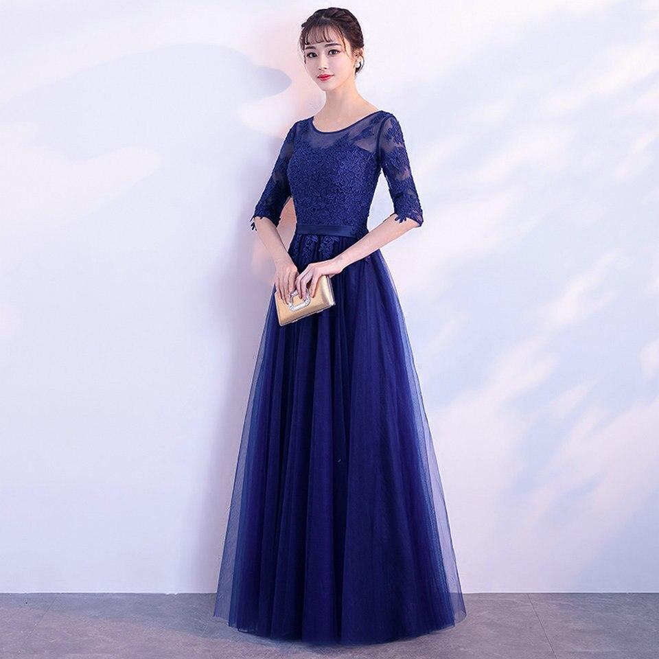 line purpurrot Tüll Neue Formale grün Sexy Kleid Frauen Appliques 2019 Abendkleider Schwarzes Scoop Lange Royal Prom Kleider Lace Up blau marineblau Größe Party A Plus Blue gUqqaSXxP