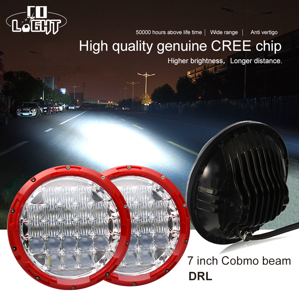 CO LIGHT 7Inch Led Headlight Round Led Chip 5D Reflector High Low H4 Parking & Driving Light for Uaz Lada Niva Jeep 4x4 4wd h4 7 led headlights with led car canbus led chip 80w 8000lm 6000k hi lo led driving light for off road uaz lada