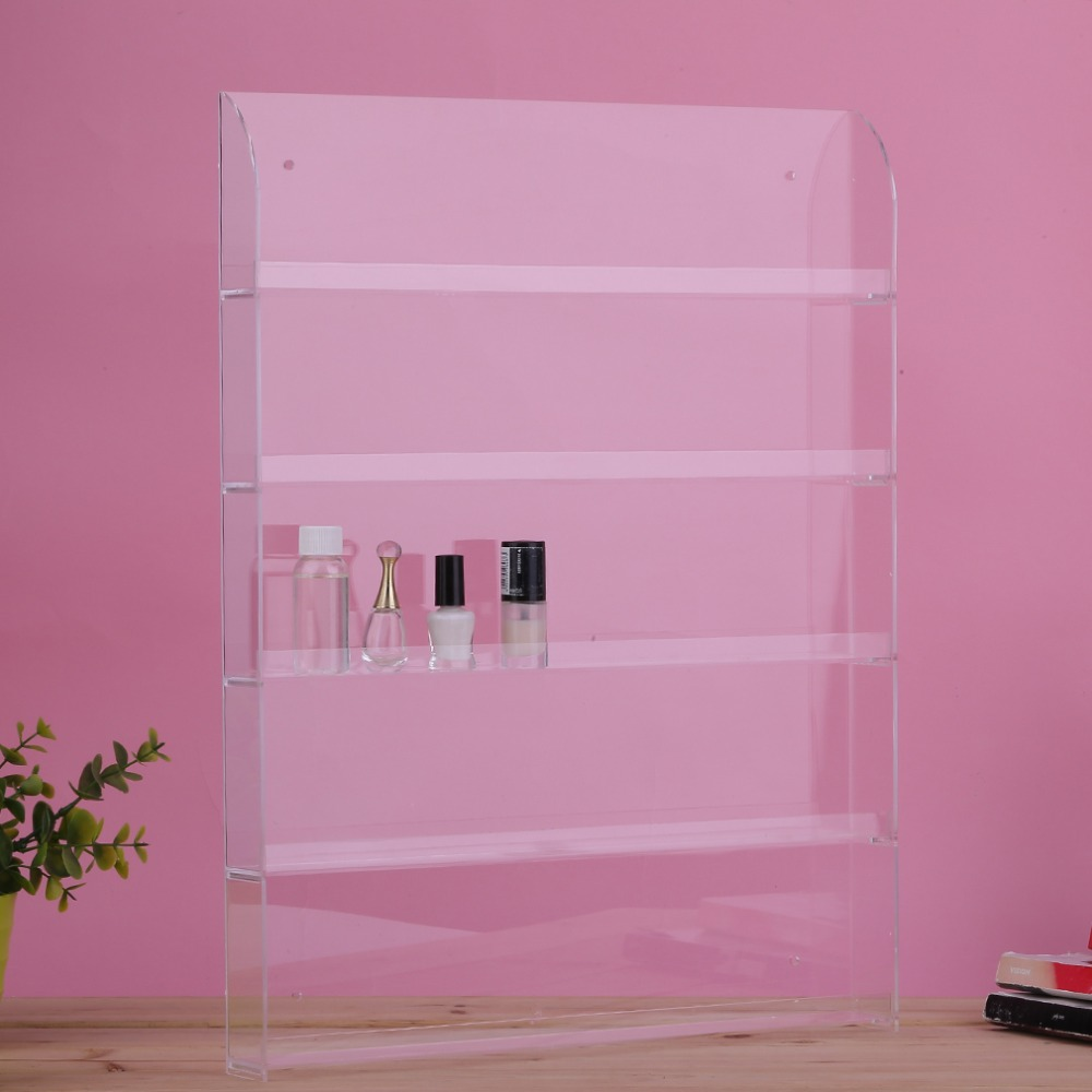 5 Layers Wall Mounted Nail Polish Acrylic Display Stand Holds Rack About 40 To 50 Bottles With