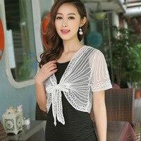 Plus Size Women Korean Style White Short Sleeved Jacket Cardigan Size Thin Lace Shawl Blouse Femme