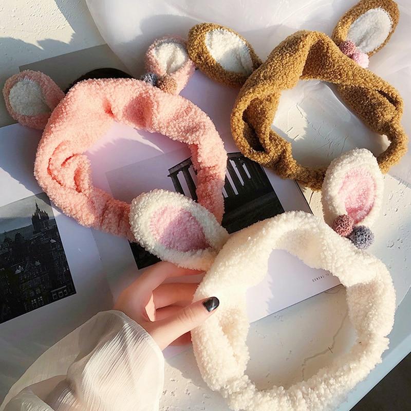 Women Girls Cute Bow Rabbit Ears Antlers Soft Coral Fleece Headbands Hair Bands   Headwear   Hairbands Hair Holder Hair Accessories