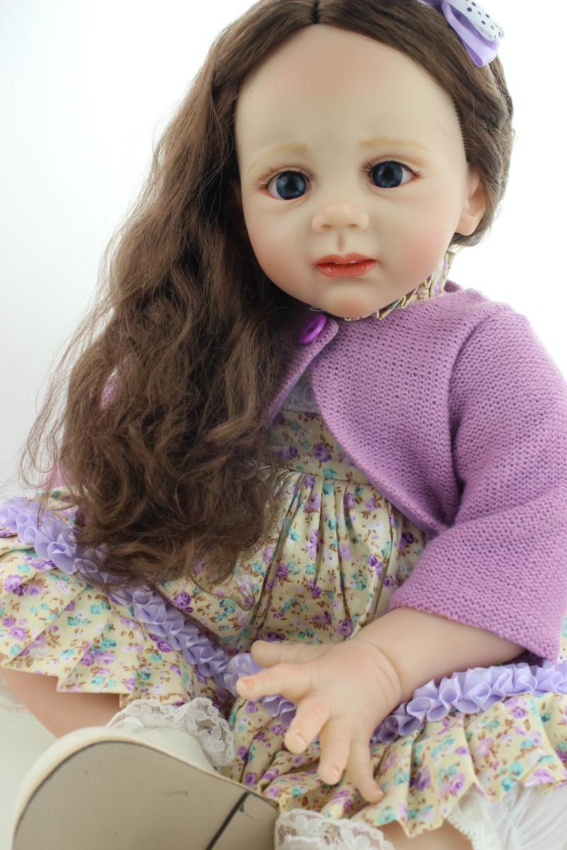 NPK 24''in 60cm soft cloth body pretty sumilation reborn Fridolin baby girl with rooted long hair silicone reborn baby dolls new arrived 55 60cm silicone reborn baby dolls fridolin sweet girl real gentle touch rooted human hair with pink dress newyear