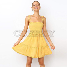 Cuerly Summer Women Dress 2019 Vintage Sexy Bohemian Solid Spaghetti Strap Beach Strapless Sundress Female Vestidos