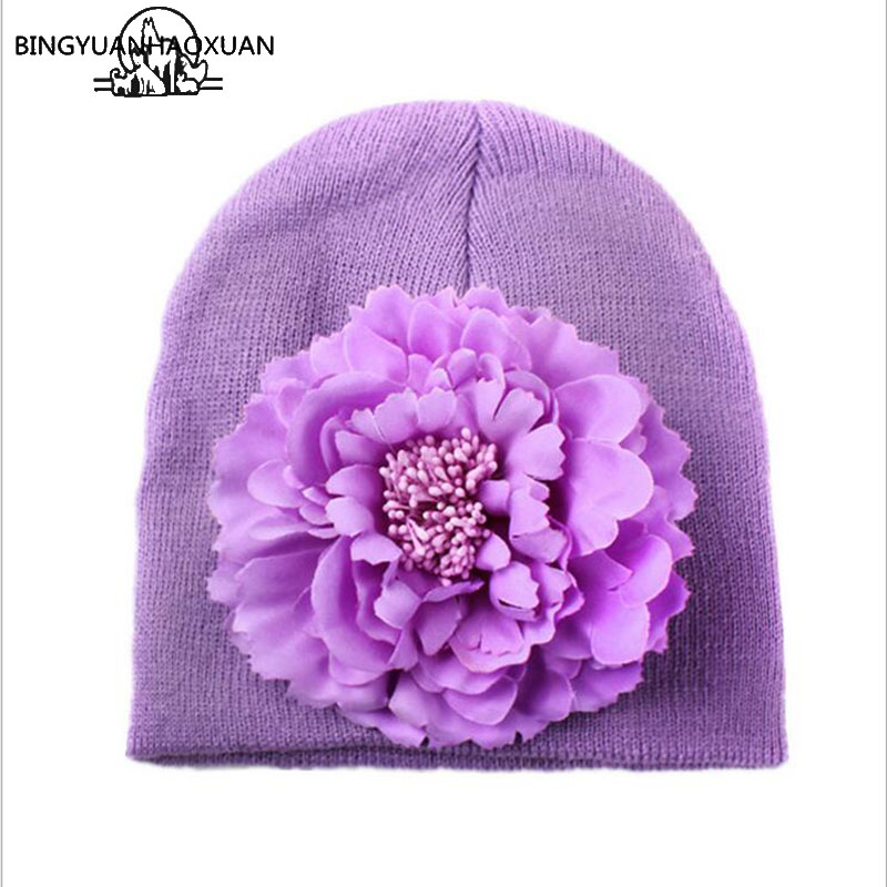 BINGYUANHAOXUAN 2017 Baby Girls Hat Cotton Knit Floral Beanie for Girls Spring Autumn Caps With Big Winter Flower Children Hats 1pcs baby spring bow hat newborn beanie with bow for baby girls cotton knit beanie infant striped caps toddler hat accessories
