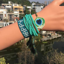 Go2boho MIYUKI Evil Eye Bracelet Peacock Feather Jewelry Happy Pulseras Sets Green Crystal For Women Tassel Handmad