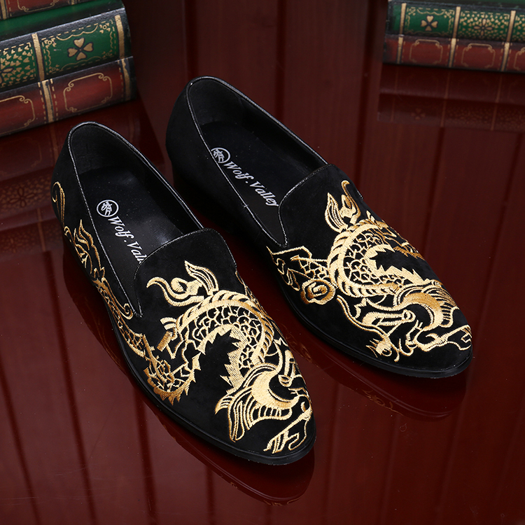 Fashion Loafers Party-Shoe Dragon Slip-On Handmade Embroidered Print Gold Newest Top-Quality