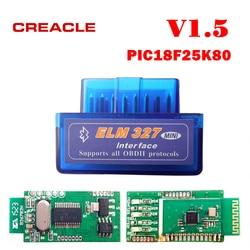 Czytnik kodów diagnostycznych CREACLE ELM327 V1.5 Mini ELM 327 V1.5 z chipem PIC18F25K80 Mini ELM327 V 1.5 skaner OBD2 Bluetooth